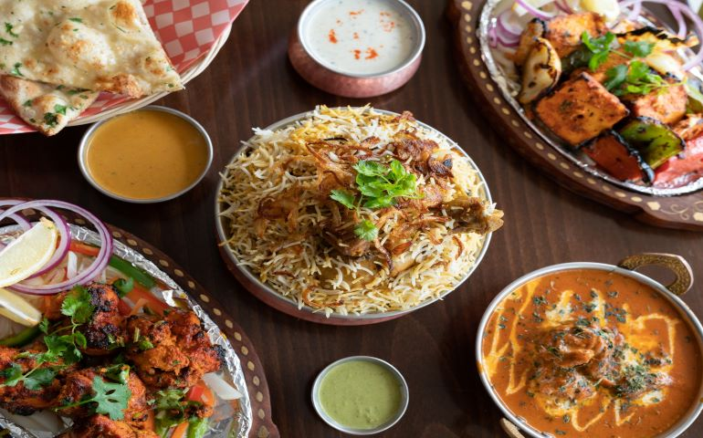 Spread of Indian dishes