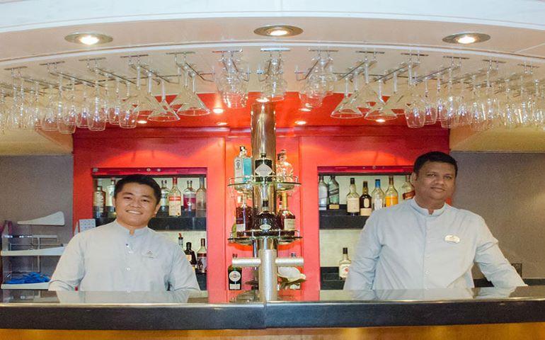 Friendly staff at bar