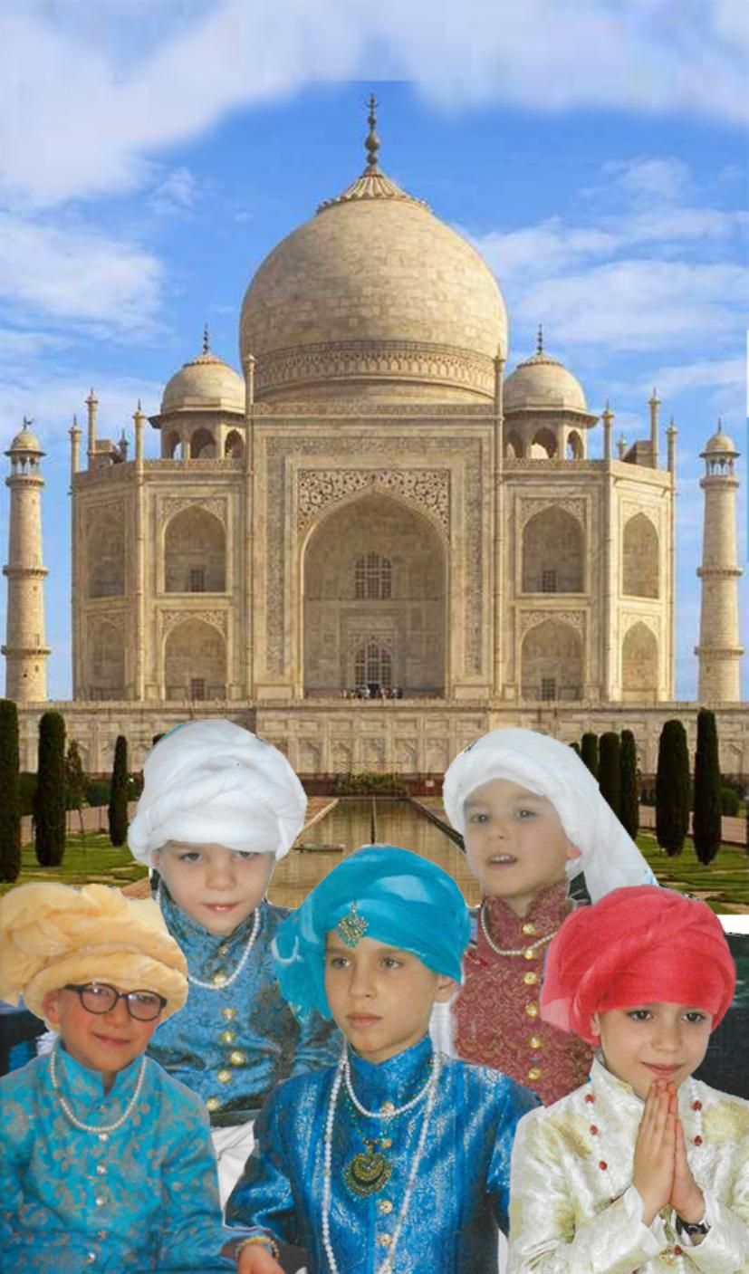 A photographic « montage » of our five Grandsons disguised as Maharajas.. The dresses were entirely made by Genevieve. The boys have never been to India… for the time being. Year 2012