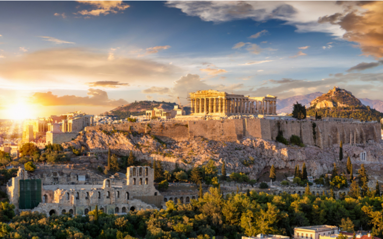 The Acropolis of Athens with the Parthenon Temple, Greece