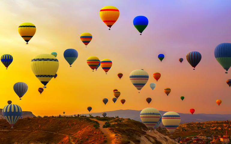Hot Air Balloon. Cappadocia Goreme National Park Turkey