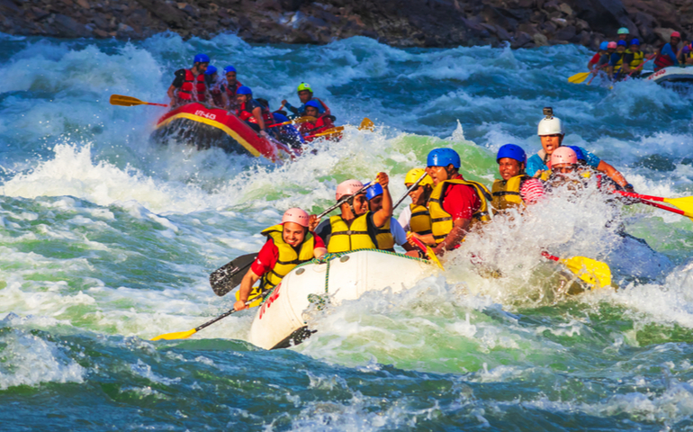 Rafting on the Ganges river in Rishikesh, North India