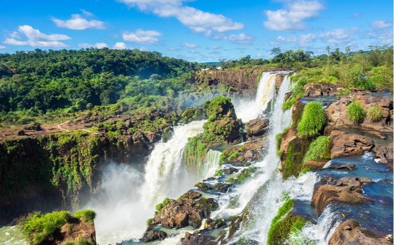 Iguazu Falls, on the border of Argentina, Brazil, and Paraguay.