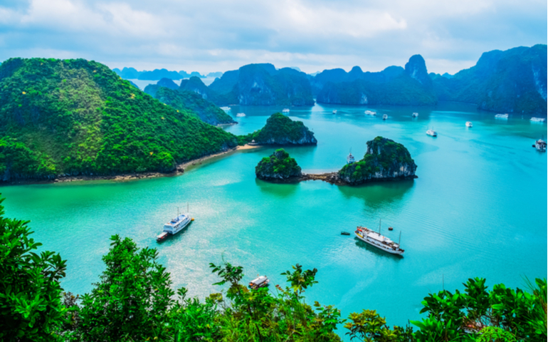 Scenic view of Islands in Halong Bay, Vietnam