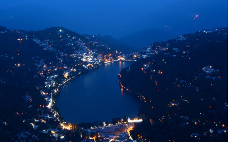 Bird's eye view of Nainital from Naina Peak