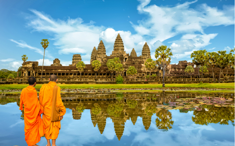 The largest religious monument in the world Angkor Wat temple complex in Cambodia, Siem Reap,
