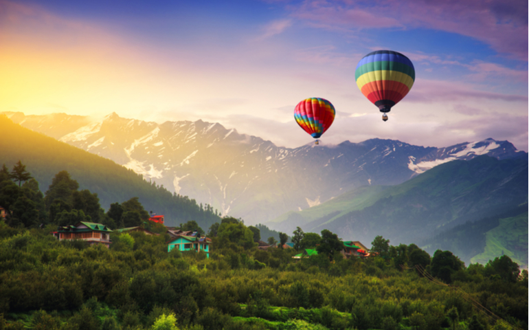 Hot Air Balloon over Manali, India.
