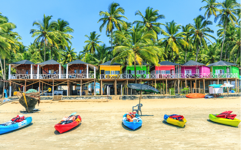 Colorful bungalows on Palolem beach, Goa