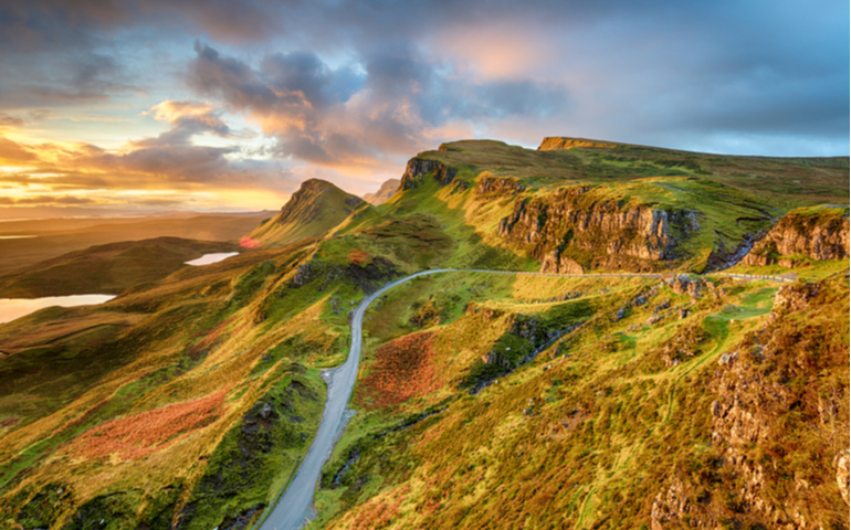 Quiraing hills on the Trotternish peninsula. Isle of Skye in the Highlands of Scotland