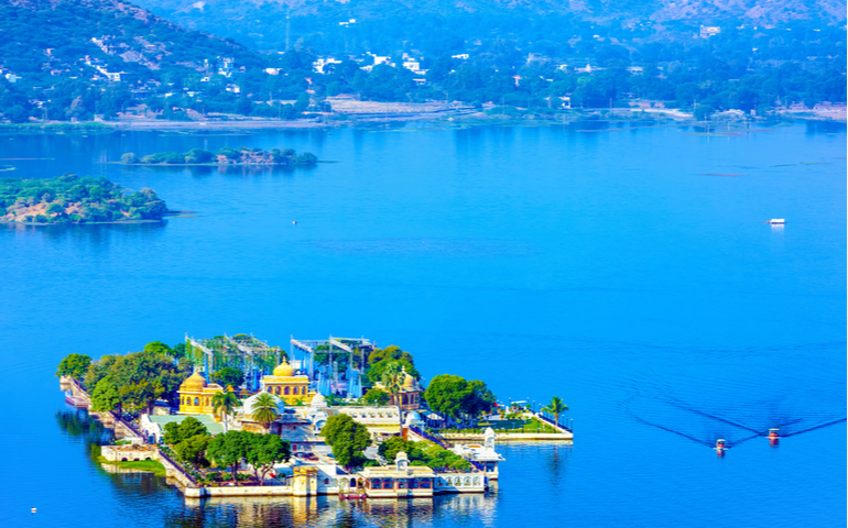 "Jag Mandir is a palace built on an island in the Lake Pichola. It is also called the ""Lake Garden Palace"". The palace is located in Udaipur city in the Indian state of Rajasthan."