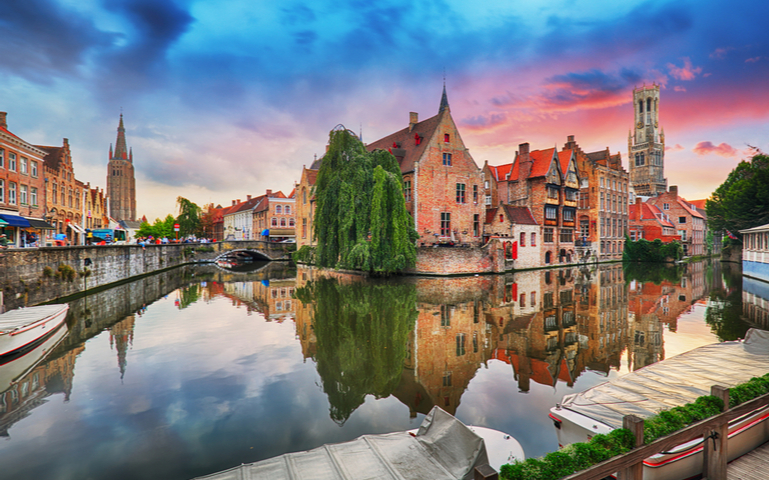 Bruges at dramatic sunset, Belgium  T